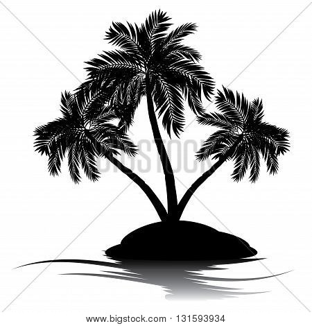 Palm Tree On Island Silhouette