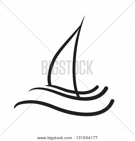 Yacht icon symbol hand-drawn illustration black and white