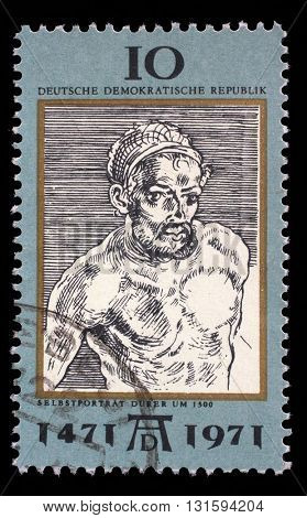 ZAGREB, CROATIA - SEPTEMBER 09: a stamp printed in DDR shows Self-Portrait, by Durer, 500th anniversary of the birth of Albrecht Durer, circa 1971, on September 09, 2014, Zagreb, Croatia