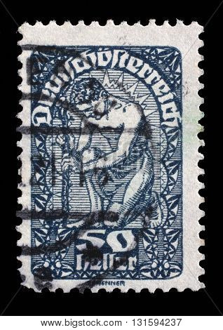 ZAGREB, CROATIA - SEPTEMBER 05: a stamp printed in the Austria shows Man, Allegory of New Republic, Austria, circa 1919, on September 05, 2014, Zagreb, Croatia
