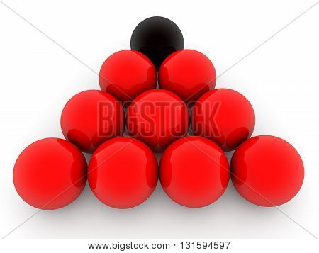 Red and black balls in pyramid on white . 3D illustration .