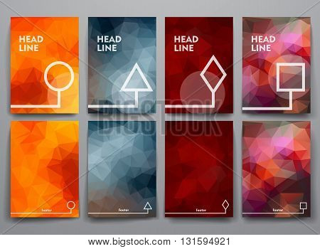 Set of abstract brochures in poligonal style. Beautiful frames and backgrounds.