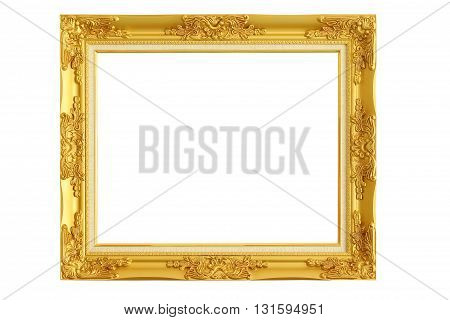 The gold picture frame on white background.