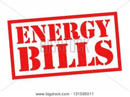 ENERGY BILLS red Rubber Stamp over a white background.