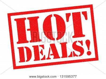 HOT DEALS! red Rubber Stamp over a white background.