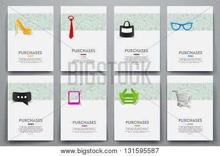 Corporate identity vector templates set with doodles sale theme. Target marketing concept