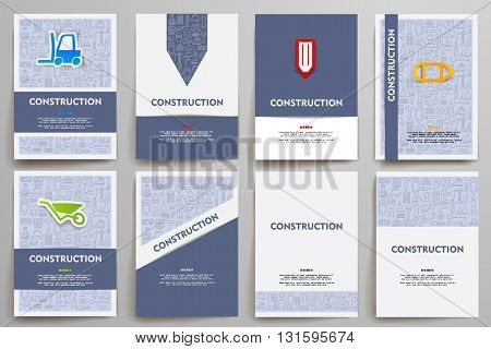 Corporate identity vector templates set with doodles construction theme. Target marketing concept