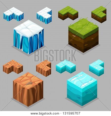 3D Isometric Landscape Cube - Ice, desert , land and water Element. Icon Can be used for Game, Web, Mobile App, Infographics. Game asset.