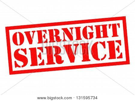 OVERNIGHT SERVICE red Rubber Stamp over a white background.