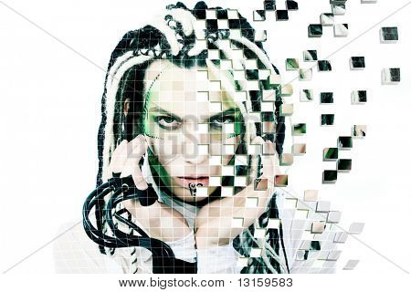 Shot of a futuristic young man with wires. Isolated over white background.