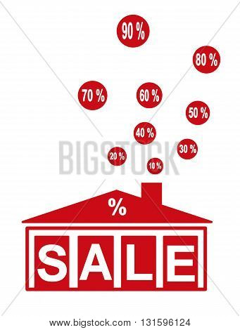 Building silhouette with the word sale - vector illustration.