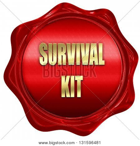 Survival kit sign, 3D rendering, a red wax seal
