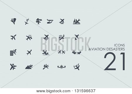 aviation desasters vector set of modern simple icons