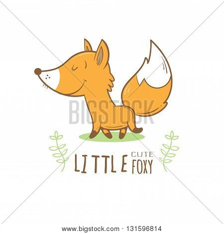 Card with cute cartoon fox. Little funny animal. Children's illustration. Vector image.