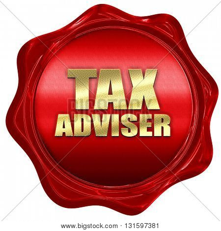tax adviser, 3D rendering, a red wax seal