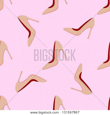 Seamless pattern with fashionable women's high-heeled shoes vector illustration