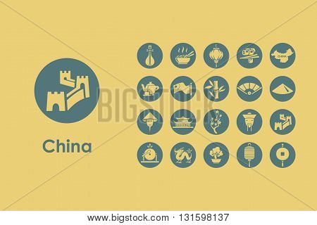 It is a set of China simple web icons