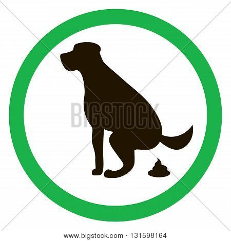 Dog pooping sign silhouette. Ecological cleanliness of the environment taking care of pets.