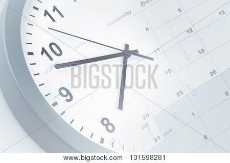 Clock face and calendar composite