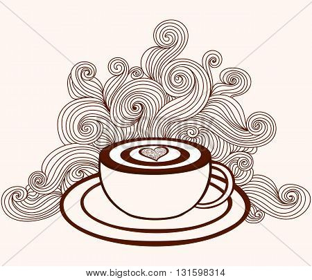 Vector coffee cup with coffee art and with curling lines pattern