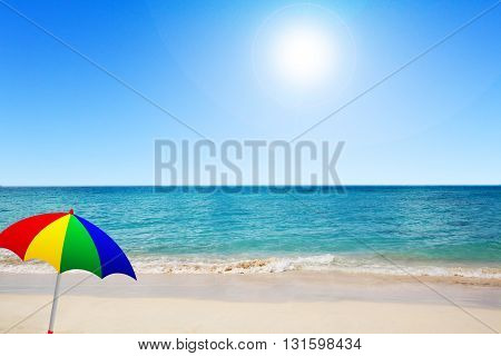Beach and blue sky in a nice day in summer