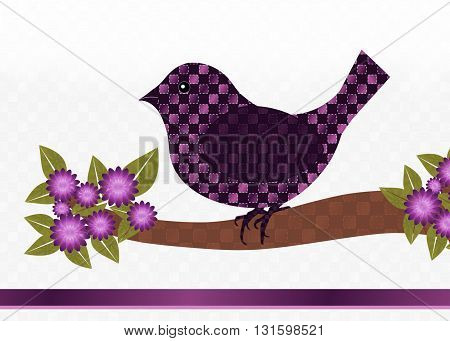 Card front- Purple and pink checkered bird sitting on branch with pink flowers, checkered white background with room for text on top. Pink gradient border along bottom of card.