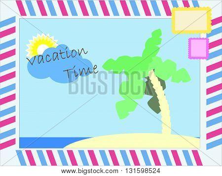 Vacation time postcard vector illustration vector illustration with text for summer vacation season seasonal advertisement for social media summer holiday illustration palm island postcard