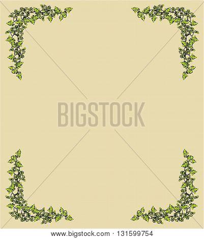 Vintage frame with branch - vector illustration.