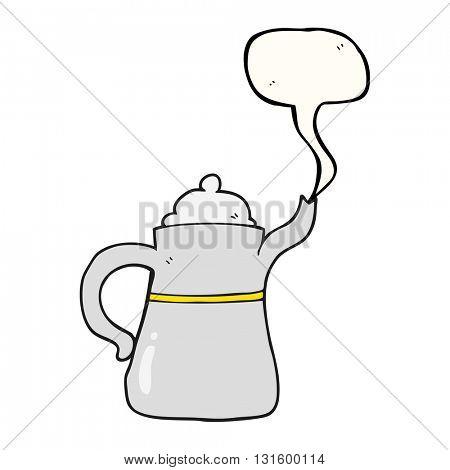freehand drawn speech bubble cartoon coffee pot