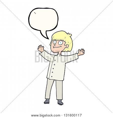 freehand drawn speech bubble cartoon chef