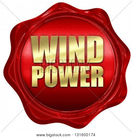 wind power, 3D rendering, a red wax seal