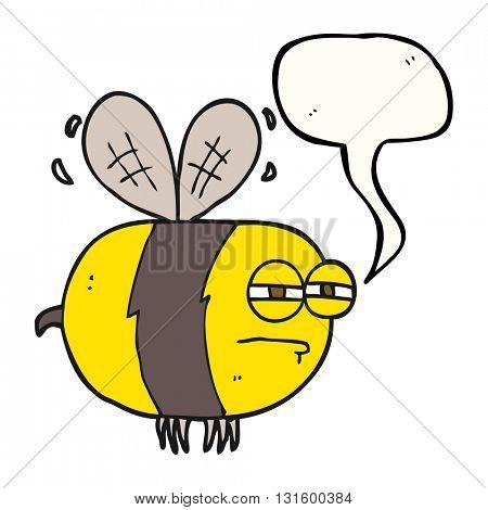 freehand drawn speech bubble cartoon unhappy bee