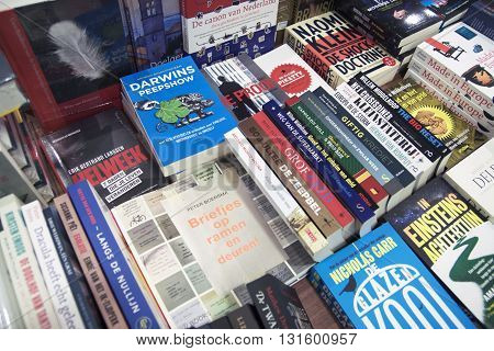 HOORN, THE NETHERLAND - 20 DECEMBER ,2014:different types of books in a bookstore for the commercial sale