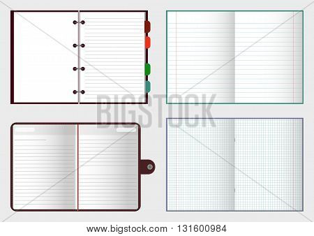 Set of open notebooks with pages vector illustration EPS 10 for your design and business