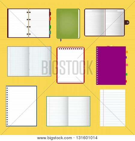 Set of stylish notebooks with pages vector illustration EPS 10 for your design and business