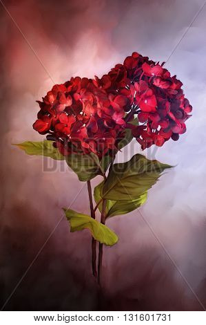 Digital painting of beautiful red hydrangea flowers.