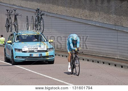 Utrecht, the Neterlands 4 July,2015: Professional cyclist Lars boom from team Astana in action during the prologue (time trial ) of Le Tour de France 2015