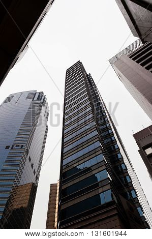 Worm's-eye view of skyscrapers in Hong Kong