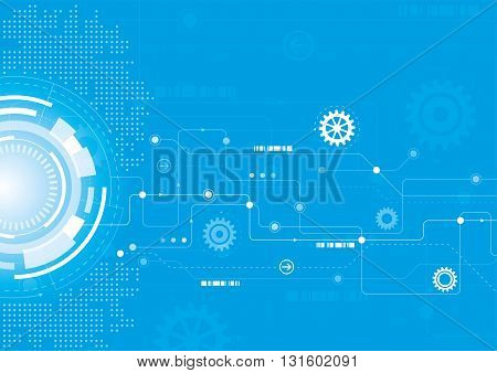 A modern technical design with cogs and a network theme
