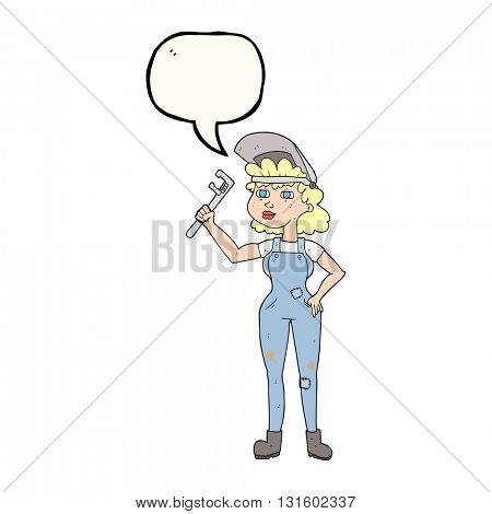 freehand drawn speech bubble cartoon capable woman with wrench