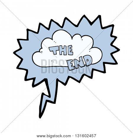 freehand drawn speech bubble cartoon The End symbol