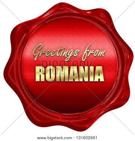 greetings from romania, 3D rendering, a red wax seal