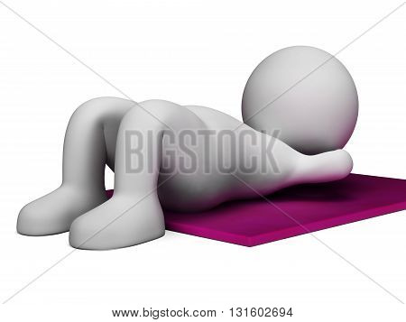 Sit Ups Represents Get Fit And Abdomens 3D Rendering