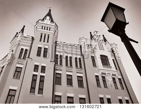 Castle of Richard the Lionheart - landmarks of Andriyivskyi Descent (Ukraine Kiev). Monochromatic image.