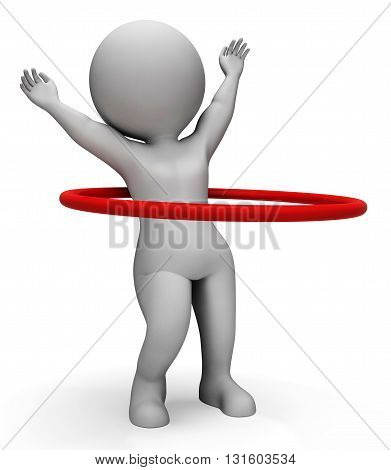 Hula Hoop Indicates Working Out And Active 3D Rendering