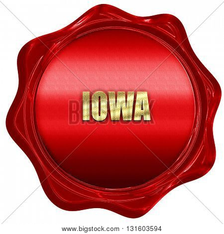 iowa, 3D rendering, a red wax seal