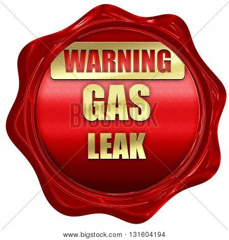 Gas leak background, 3D rendering, a red wax seal