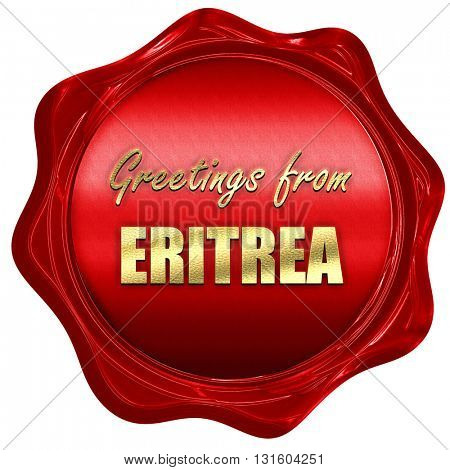 Greetings from eritrea, 3D rendering, a red wax seal