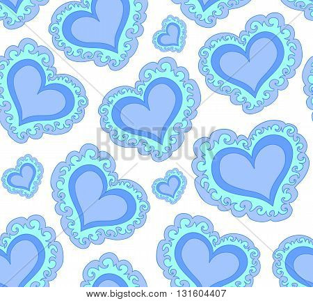 Vector seamless pattern with beautiful blue abstract hearts. Endless texture. You can use any color of background