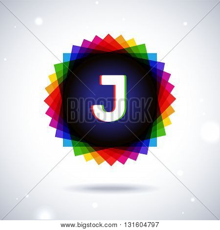 Spectrum logo icon with shadow and particles. Letter J